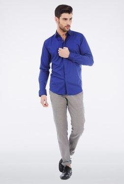 Basics Blue Yarn Dyed Herringbone Shirt