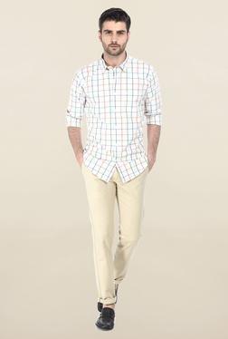 Basics White & Green Windowpane Checked Shirt