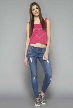 Nuon By Westside Dark Blue Distressed Skinny Fit Jeans