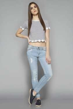Nuon By Westside Blue Distressed Skinny Fit Jeans