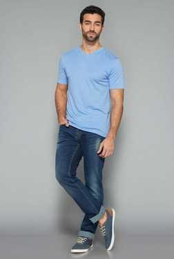 Westsport Mens Blue V Neck Cotton T Shirt