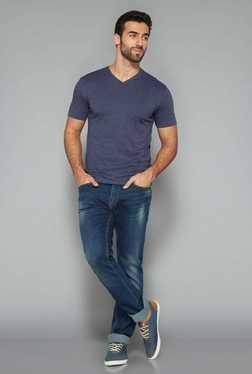 Westsport Mens Indigo Cotton V Neck T Shirt