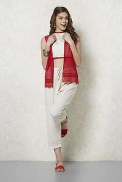 Fusion Beats Red Sleeveless Lace Shrug