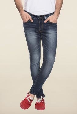 Spykar Blue Slim Fit Mid Rise Jeans
