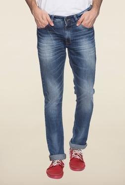 Spykar Blue Straight Fit Denim Jeans
