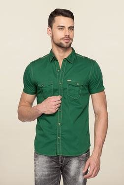 Spykar Green Ranger Cotton Solid Shirt