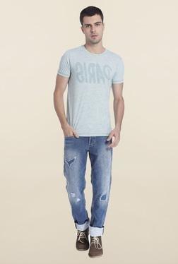 Jack & Jones Blue Textured Crew Neck T-Shirt