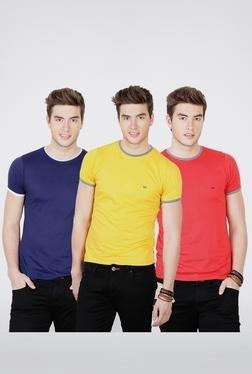 Basics Navy, Yellow, Red Crew Neck T Shirt