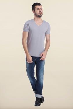 Jack & Jones Grey Denim V Neck T-Shirt