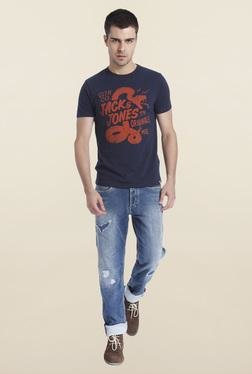 Jack & Jones Navy Printed Crew Neck T-Shirt