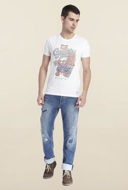 Jack & Jones White Cotton Crew Neck T-Shirt