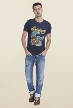 Jack & Jones Blue Casual Crew Neck T-Shirt