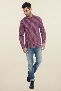 Jack & Jones Red And Blue Checks Casual Shirt