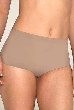 Amante Beige Solid High Waist Brief