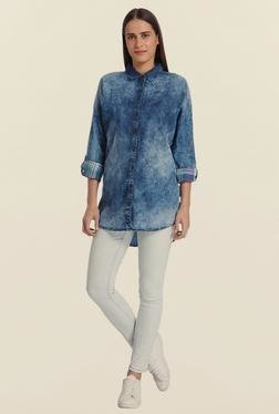 Vero Moda Blue Denim Tie Dye Shirt