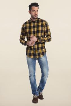Jack & Jones Yellow And Black Checks Casual Shirt