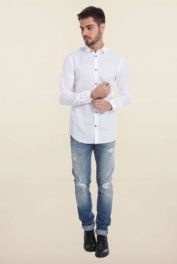 Jack & Jones White Solid Regular Fit Casual Shirt