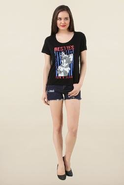 Tom & Jerry Black Printed Top