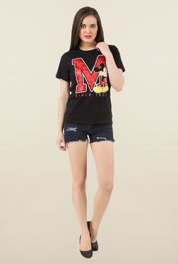 Mickey & Friends Black Printed Cotton Top