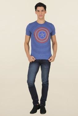Captain America Surf Blue Printed T-Shirt
