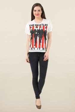 The Beatles Off White Printed Cotton Top