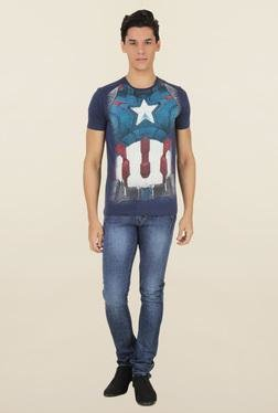 Captain America Navy Cotton T-Shirt