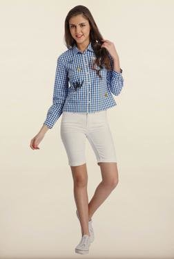 Only Blue & White Checked Casual Shirt