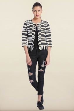 Only White & Black Striped Casual Blazer