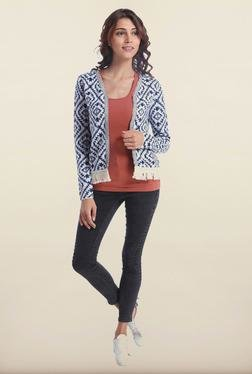 Only White & Blue Printed Cardigan
