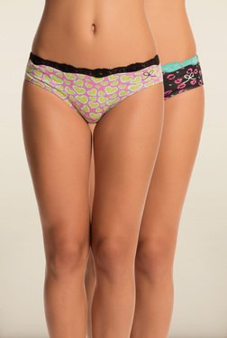 Pretty Secrets Pink & Black Printed Panties (Pack Of 2)