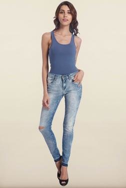 Only Blue Skinny Fit Jeans With Knee Cuts