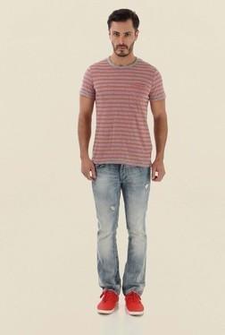 Jack & Jones Light Grey Striped Crew Neck T-Shirt