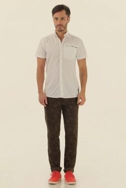 Jack & Jones White Solid Half Sleeves Casual Shirt