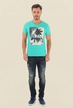 Jack & Jones Aqua Blue Printed Crew Neck T-Shirt