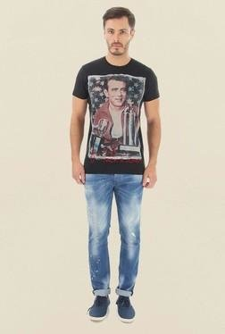 Jack & Jones Black Printed Crew Neck T-Shirt - Mp000000000061829