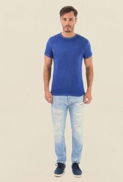 Jack & Jones Blue Solid Crew Neck T-Shirt