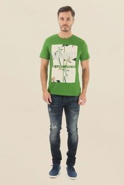 Jack & Jones Green Printed Crew Neck T-Shirt