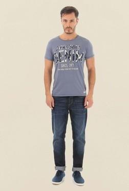 Jack & Jones Light Grey Printed Crew Neck T-Shirt - Mp000000000062000