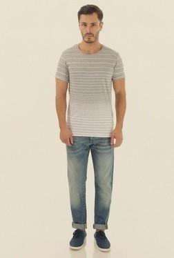 Jack & Jones Grey Striped Crew Neck T-Shirt