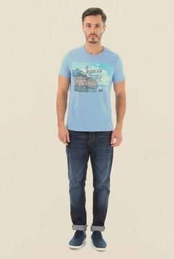 Jack & Jones Light Blue Printed Crew Neck T-Shirt