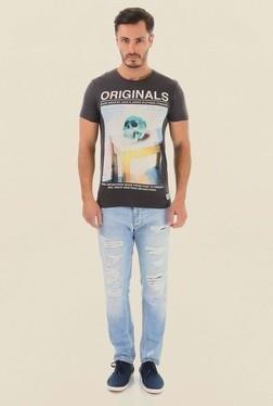 Jack & Jones Dark Grey Printed Crew Neck T-Shirt