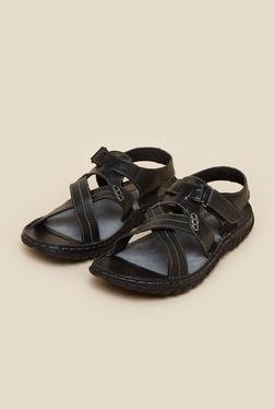 Red Tape Black Leather Sandals