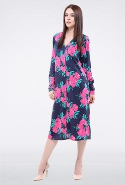 Femella Navy Floral Button Down Midi Dress