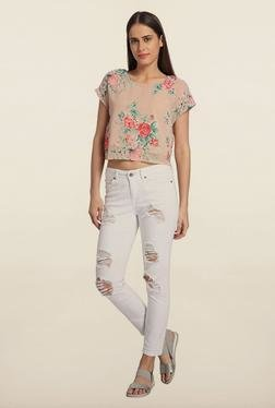 Vero Moda Beige Floral Printed Top