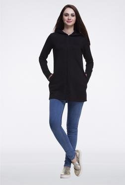 Femella Black Long Quilted Jacket
