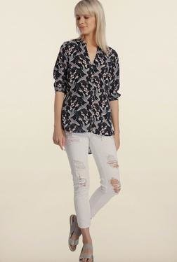 Vero Moda Black Printed High-Low Shirt