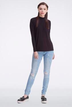 Femella Black High Neck Pullover