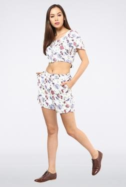 Femella White Crop Top With Front Zipper