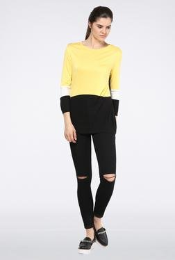 Femella Jet Black And Yellow Block Jersey Top