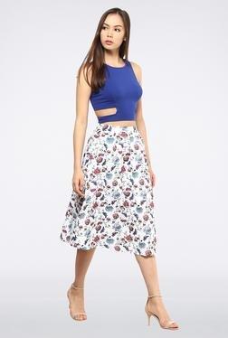 Femella White High Waisted Circular Midi Skirt